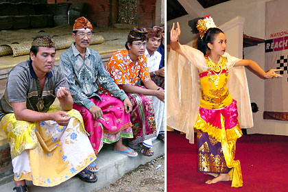 Balinese men in traditional attire and a Balinese dancer