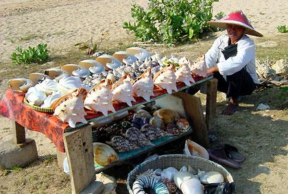 hawker selling shells at Nusa Dua, Bali