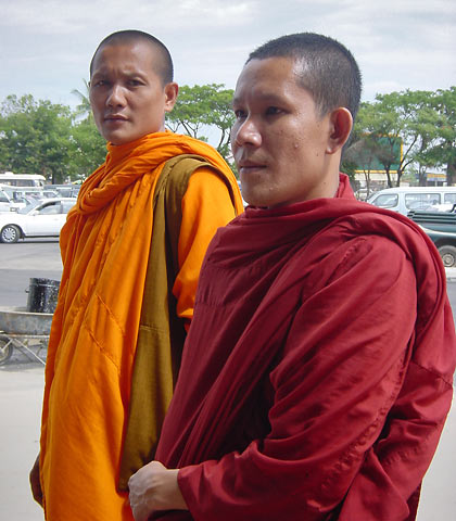 two Cambodian Buddhist monks, Phnom Penh International Airport, Cambodia