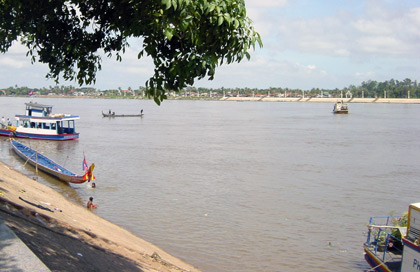a view of the Meking River from Phnom Penh, Cambodia