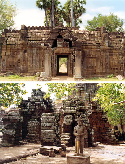 two views of the Wat Nokor ruins in Kompong Cham, Cambodia