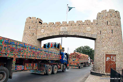 the Khyber Gate on Jamrud Road looking towards Peshawar