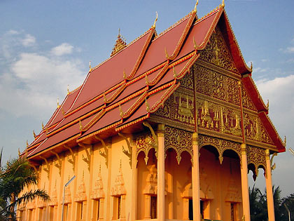 the Haw Phra Kaew or Temple of the Emerald Buddha at sunset