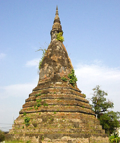 the That Dam or Black Stupa in Vientiane