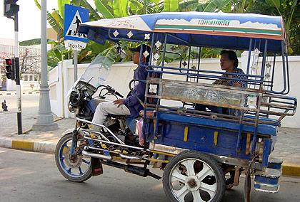 a Lao tuk tuk in Vientiane