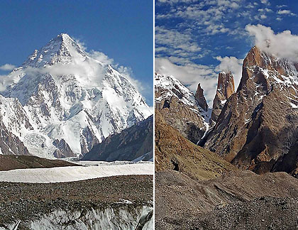 K2 (left) and the Trango Towers (right) in the Karakoram Mountains