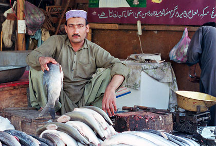 Pashtun man selling fish at a market in Peshawar, Khyber Pakhtunkhwa, Pakistan