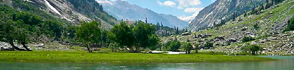 panoramic view of Kundol Lake, Swat Valley