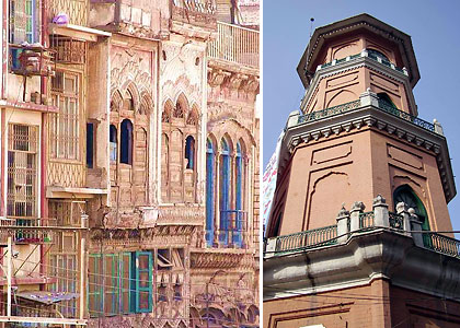 elaborately decorated homes and the Clock Tower of Peshawar