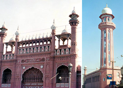 the Sunehri Mosque and a minaret, Peshawar