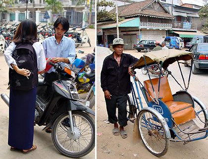Cambodian youth with their motorcycle and a cyclo driver waiting for passengers