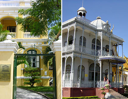 French colonial architecture influences in Phnom Penh: the UNESCO office and an iron building donated by Napoleon III