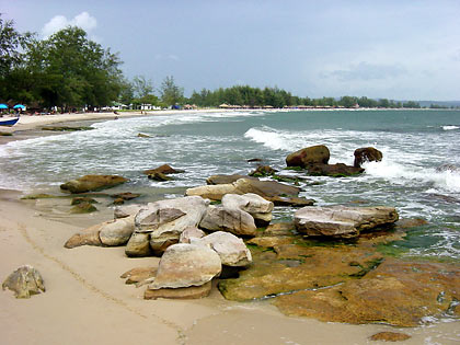 rocky portion of Occheuteal Beach, Sihanoukville