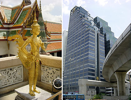 left: the Kinnon, a Buddhist mythological figure at the Grand Palace, Bangkok; right: elevated metro rail system in downtown Bangkok