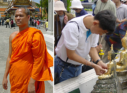 left: a Buddhist monk at the Grand Palace, Bangkok; right: devout Buddhist making offerings, the Grand Palace, Bangkok