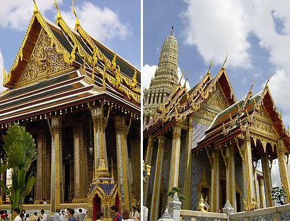 buildings inside the Grand Palace complex: left - the War Phra Kaew, right - the Prasat Phra Thap Bidon