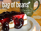 coffee and blueberry cheesecake at Bag of Beans