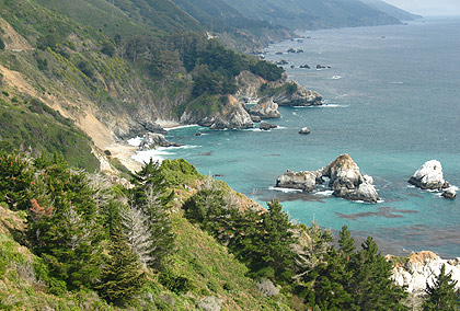 Big sur coastline showing the McWay Rocks island group