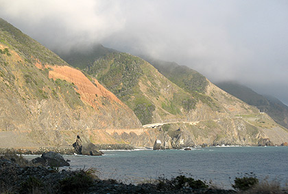view of Highway 1 and surrounding hills on the way south towards Cambria