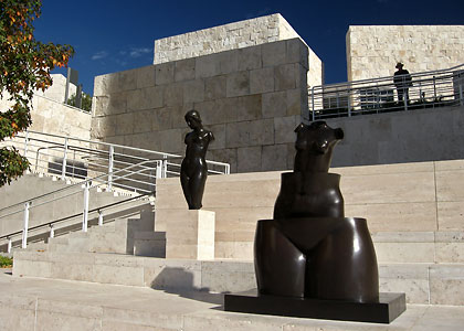 outdoor sculptures at a terrace, the Getty Center