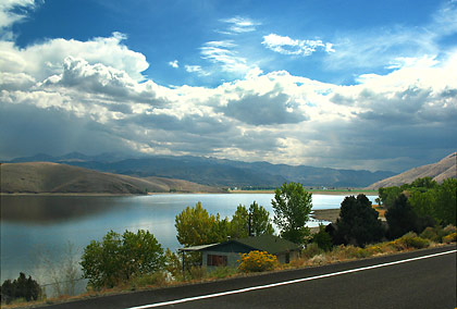 Highway 395 passing by Lake Topaz with the Sierra Nevada in the background