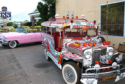 a Sarao jeepney at Eric Schat's Bakery in Bishop