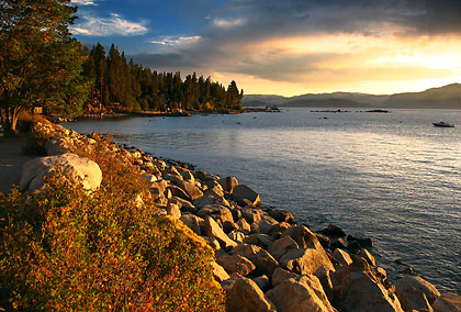 Sunset view at Secret Harbor on Lake Tahoe's east shore