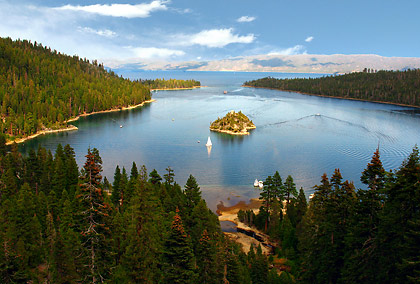 View of Emerald Bay from a vantage point on Highway 89