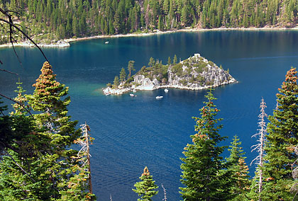 view of Fannette Island in Emerald Bay