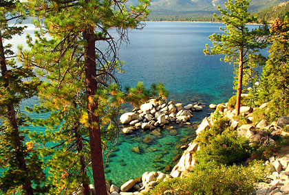 rocky cove and beach with turquoise waters south of Crystal Bay, East Shore, Lake Tahoe