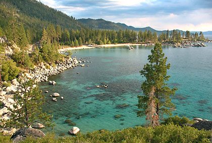 view of Sand Harbor at Lake Tahoe's eastern shore