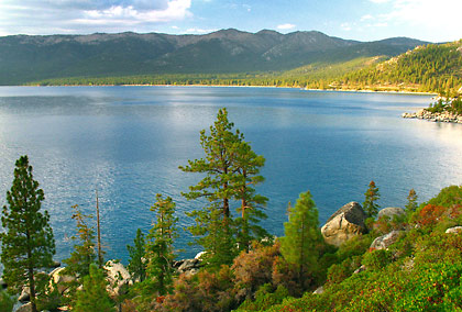 view of Lake Tahoe's eastern shore near Sand Harbor