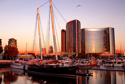 the Embarcadero Marina Park with the Marriott Hotel in the background at sunset