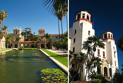 lily pond reflecting pool and Naval Hospital, Balboa Park
