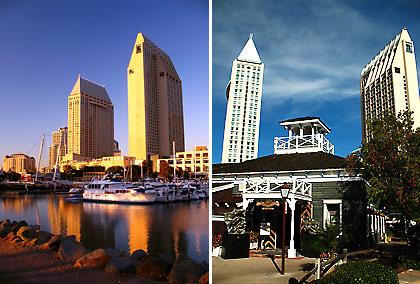 left: the Embarcadero Marina Park and Hyatt Hotel; right: Seaport Village