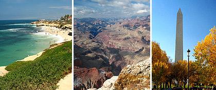 La Jolla Cove, San Diego, CA; Grand Canyon, Arizona; Washington Monument, Washington D.C.