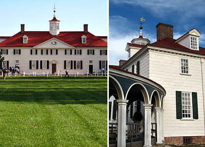 two views of the home of George Washington, Mount Vernon, Virginia