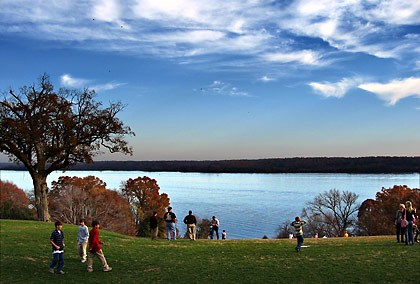 the Potomac River viewed from the grounds of Washington's mansion, Mt. Vernon, Virginia