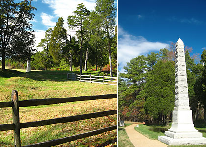 left: part of the Crater at Petersburg National Battlefield Park; right: a memorial to a Civil War unit