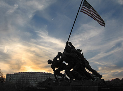 Marine Corps War Memorial in Arlington at sunset