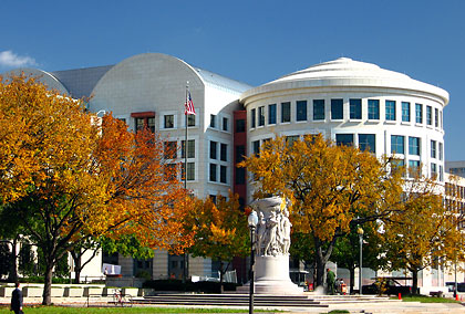 the E. Barrett Prettyman Courthouse with the Gen. George Meade statue in the foreground