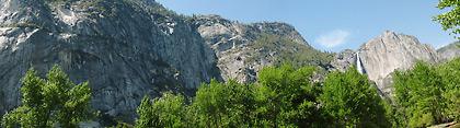 Yosemite Valley view of massive granite blocks and the Yosemite Falls on the right