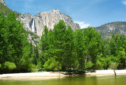 another view of the same meadow showing Upper Yosemite Falls to the right