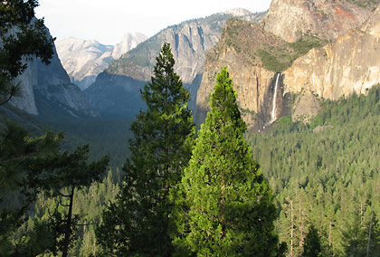 Yosemite Valley view showing Bridalveil Falls, Half Dome and part of El Capitan