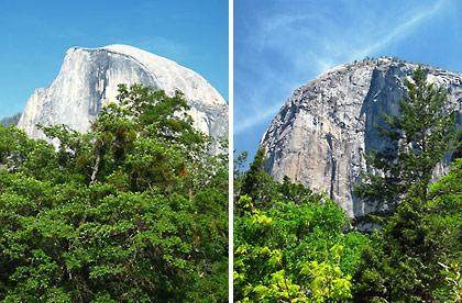 left: Half Dome; right: El Capitan
