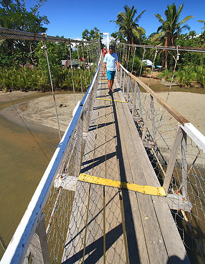 crossing the Baler Hanging Bridge