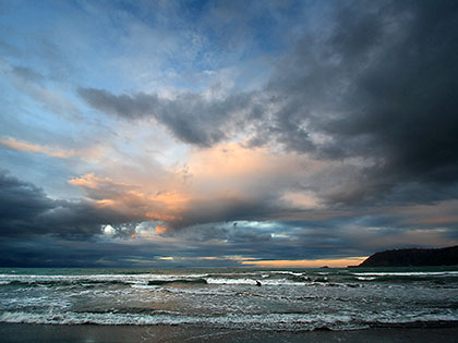 sunset colors at Sabang Beach, Baler