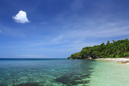 lone cloud and beach, Higatangan Island, Biliran