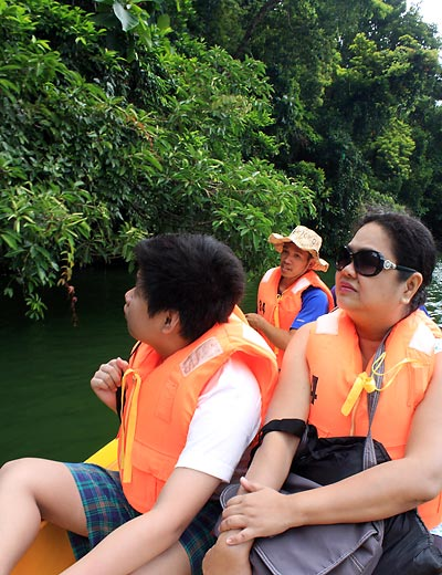 touring Bulusan Lake by boat