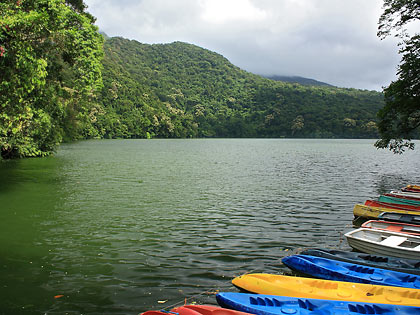 Bulusan Lake with boats and kayaks in the foreground